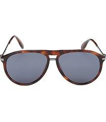 alexander mcqueen women's faux tortoiseshell 60mm aviator sunglasses - havana