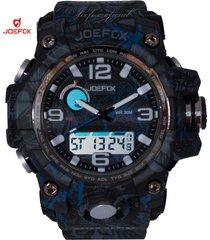 reloj unisex joefox plastico camuflaje hojas 1523b - azul