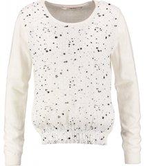 garcia kortere off white trui met polyester voorzijde