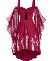 skeleton print butterfly sleeve high low dress