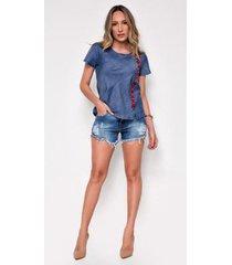 shorts jeans zait hot pants leticia - feminino