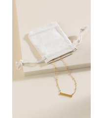 brynn delicate bar necklace & pouch - gold