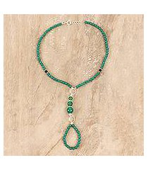 onyx beaded harem anklet, 'exotic style in green' (india)