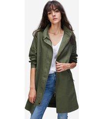 jazzevar trench coat in cotone in colore verde militare