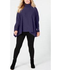 alfani plus size turtleneck poncho sweater, created for macy's