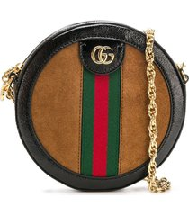 gucci ophidia mini round shoulder bag - brown