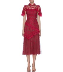 'elsa ballerina' floral embroidered lace trim ruffle tiered tulle midi dress