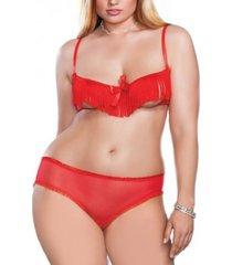 icollection women's plus size francesca 2 piece peek-a-boo fringe bra and panty set