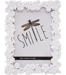 porta retrato minas de presentes flores 1 foto 10x15cm branco