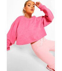 korte acid wash gebleekte sweater, bright pink