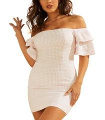 guess lana off-the-shoulder mini dress