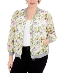 inc plus size floral-print zipper jacket, created for macy's