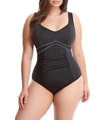 plus size women's elomi essentials firm control one-piece swimsuit, size 16 - black