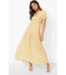 gingham maxi jurk met cup detail, yellow