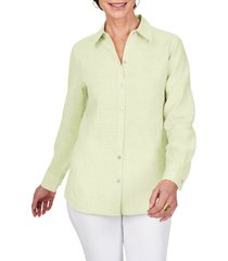 foxcroft jordan non-iron linen chambray shirt, size 16 in lime fizz at nordstrom