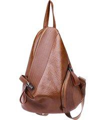 donna soft triangolo in pelle serratura borsa da viaggio per zaino