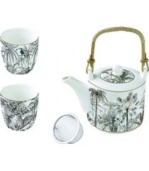 czajnik porcelanowy plus 2 filiżanki retro africa