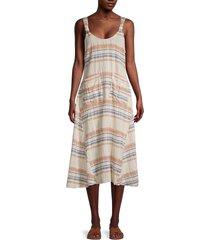 free people women's harper striped midi dress - mustard combo - size xs
