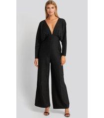 na-kd party deep v neck batwing lurex jumpsuit - black