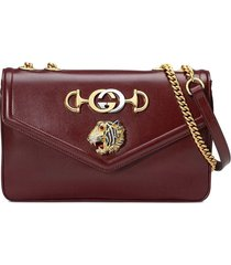 gucci medium shoulder bag with tiger head - red