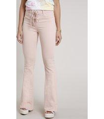 calça de sarja feminina sawary flare cintura super alta com amarração rosa