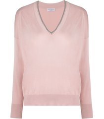 brunello cucinelli beaded-neck sweater - pink