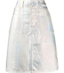 helmut lang metallic coated a-line skirt - blue