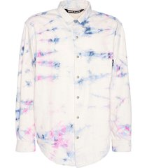 white multicolored tie-dye denim shirt
