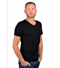 rj bodywear men v-neck t-shirt pure black