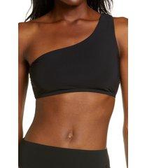 tory burch one-shoulder bikini top, size medium in black at nordstrom