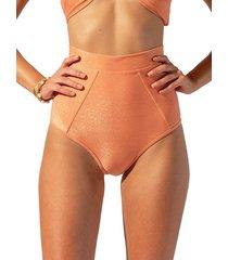 suboo women's farrah high waisted bikini bottom - coral - size s