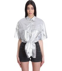 isabel marant giliggy shirt in silver synthetic fibers