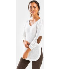 indy v-neck elbow patch sweater - white