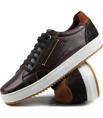 sapatãªnis casual tchwm shoes  4050 couro adulto - marrom - masculino - dafiti