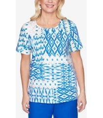 alfred dunner plus size ikat patchwork short sleeve knit top