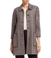 st. john women's piped trim patch pocket tweed coat - size 00