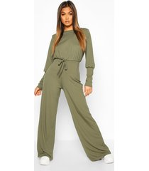 ribbed tie detail wide leg jumpsuit, khaki