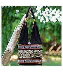 cotton blend shoulder bag, 'charming thai in black' (thailand)