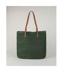 bolsa feminina shopper grande em palha verde