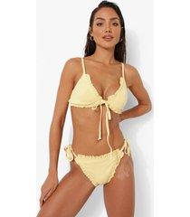 bikini broekje met geplooide zoom, textuur en zijstrikjes, lemon