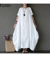 zanzea vestido largo de fiesta de manga corta de verano para mujer vestido largo retro para mujer vestido suelto de kaftan suelto vestido talla grande l-5xl (blanco roto) -blanco