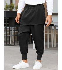 yoins basics hombre casual cintura elástica escalonada harem pantalones