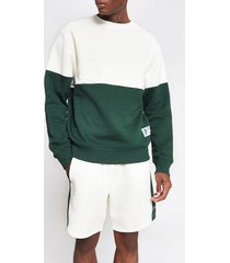 river island mens prolific dark green colour block sweatshirt