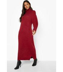 gebreide midaxi jurk met waterval hals, dark red