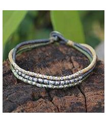 silver accent braided bracelet, 'thai forest flowers' (thailand)