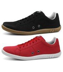 kit sapatênis conforto casual rebento vermelho e preto