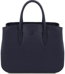 tuscany leather tl141728 camelia - borsa a mano in pelle blu scuro