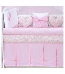 kit berço coração rosa 10 peças. - rosa