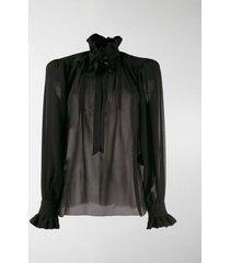 saint laurent structured-shoulder silk blouse
