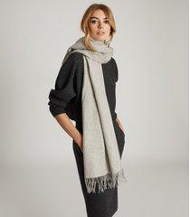 reiss jen - wool cashmere blend oversized scarf in grey, womens
